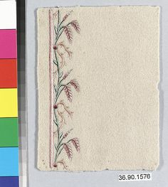 Sample Date: early 19th century Culture: French Medium: Silk on felt Dimensions: L. 5 x W. 3 3/4 inches 12.7 x 9.5 cm Classification: Textiles-Embroidered Credit Line: Gift of The United Piece Dye Works, 1936
