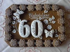 Hungarian Cookies, Buttercream Flowers, 60th Anniversary, Alphabet And Numbers, Cookies And Cream, Edible Art, Royal Icing, Food Design, Cookie Decorating