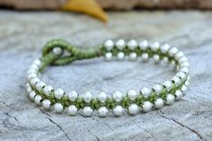 Charm Silver Green Bracelet by brasslady on Etsy
