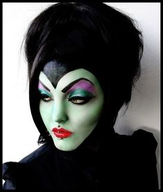Ridiculously perfect Malefecent makeup. She's got the PERFECT face for it, too!