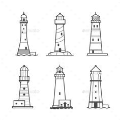 Simple Vector Icon Or Logo Set Of Lighthouses