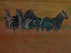 Zebra`s alert, created by Samuel Friday, oil on canvass,35cm x 25cm