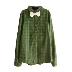 Lapel Long Sleeve Plaid Bow Front Shirt ($16) ❤ liked on Polyvore featuring tops, tartan plaid shirt, tartan top, long-sleeve shirt, green tartan shirt and green long sleeve shirt