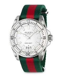 Shop for Gucci Men's 'Dive' Green and red Nylon Watch - White. Get free delivery On EVERYTHING* Overstock - Your Online Watches Store! Gucci Watches For Men, Gucci Men, Men's Watches, Gucci Gucci, Casual Watches, Trendy Watches, Gucci Brand, Gq, Dove Men