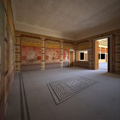 Villa reconstruction Pompeii, Italy on Behance ~ View of east wall of room H. The fresco fragments are in the collection of THE METROPOLITAN MUSEUM OF ART in New York who own the copyright to the photographs of the frescoes. Ancient Pompeii, Pompeii Ruins, Pompeii Italy, Pompeii And Herculaneum, Ancient Roman Houses, Italy House, Roman City, Roman Architecture, Ancient Civilizations