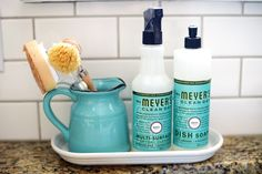 Attractive and organized scrub brushes and soap!   (Week 1 Organizing Challenge: Kitchen | A Bowl Full of Lemons)