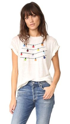 36dd8aaa920 Adorned fag lights alter joyous style to this linen jersey Banner Day tee.