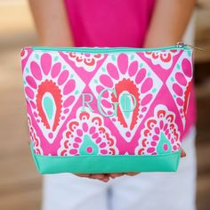 dd3f4911f9bd Monogrammed Beachy Keen Cosmetic Bag - subtlysouthern.com Personalized  Makeup Bags