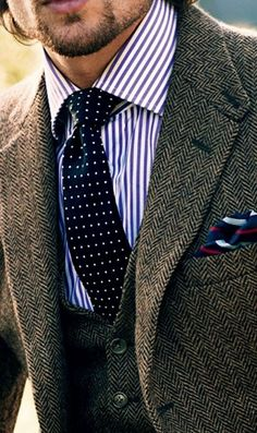 Grey tweed herringbone blazer and waistcoat, white blue pinstripe bengal stripes dress shirt, navy polka dots tie, blue pocket square Gentleman Mode, Gentleman Style, True Gentleman, Dapper Gentleman, Modern Gentleman, Modern Man, Tweed Suits, Mens Suits, Tweed Blazer