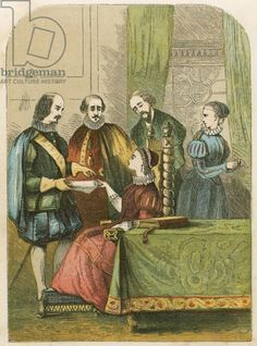 Lady Jane Grey solicited to accept the Crown. Illustration from History of England by Henry Tyrrell (c 1860).