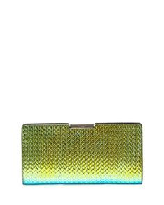 Miley+Holographic+Frame+Clutch+Bag,+Green/Blue+at+CUSP.