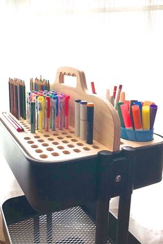 General Marker & Pencil Storage Holder for Artists Ikea Raskog Cart, Ikea Cart, Raskog Trolley, Tote Storage, Craft Storage, Storage Cart, Art Studio Room, Wood Insert, Art Studio Organization
