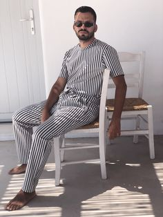 Giannis Mekiamis, Awarded Fashion Blogger by Marie Claire Greece, in his ARISTOTELI BITSIANI striped outfit in Mykonos 🇬🇷