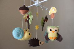 "Baby Crib Mobile - Baby Mobile - Decorative Baby Nursery Crib Mobile - ""Forest Little Creatures"" Design (pick your colors)"