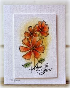 Rapport från ett skrivbord: Colors penny black gossamer flower and eloquence Penny Black Cards, Penny Black Stamps, Watercolor Cards, Watercolor Flowers, Watercolor Portraits, Watercolor Landscape, Watercolor Painting, Paint Cards, Flower Cards