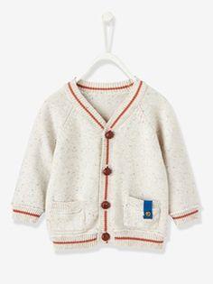 Casaco em tricot bicolor, para bebé menino