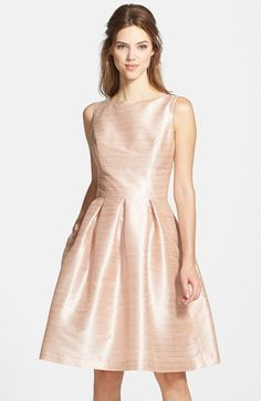This is a nice color and texture for bridesmaid - Alfred Sung Dupioni Fit & Flare Dress available at #Nordstrom