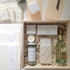 Client gift assembly for the kind and talented @shelbypeadenevents to gift her very lucky brides! @mastbrothers @willasshortbread @herbivorebotanicals @sugarfina @appointedco @verdispumante