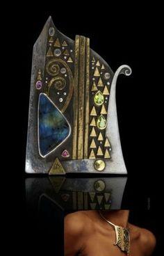 Linda Ladurner. 'Orphee' Pendant, gold, silver, moonstone, opal, pink tourmaline, labradorite, peridot.