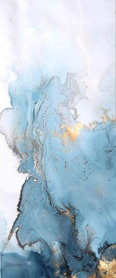 Blue and gold marble painting by Beth Nicholas. #Agate #Marble #Gradient