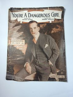 Vintage Al #Jolson Sheet Music Youre a Dangerous Girl 1916 Leo Feist Early American Americana Frame It #Ephemera Free US Shipping Oversize by SoaringHawkVintage on #Etsy