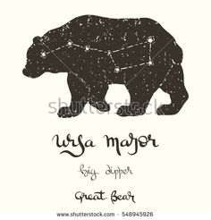 stock-vector-hand-drawn-vector-illustration-of-the-constellation-ursa-major-on-the-bear-silhouette-with-several-548945926.jpg (450×470)