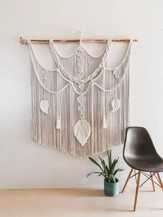 BOHO MACRAME WALL HANGING: Beautiful Bohemian rope artwork for your home, office, bedroom or wedding made by hand, with hours of work and hundreds of knots. Great for a baby nursery (Etsy Macrame Wall Hanging Patterns, Large Macrame Wall Hanging, Wedding Wall Decorations, Handmade Decorations, Bohemian Wall Art, Bohemian Decor, Baby Nursery Decor, Nursery Wall Art, Knots