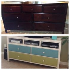 This week's project: Old dresser into a new TV stand for my den!