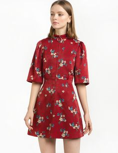 532ef75fef37 Pretty crimsom red floral fit and flare dress with ring pull zipper front.  Cheap Summer