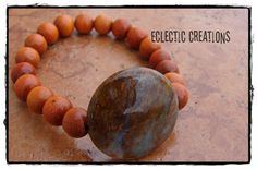 Nabi Red Wood and Stone Bracelet by Mingz on Etsy, $18.00