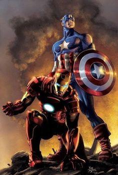Iron Man and Captain America - Mike Deodato Jr. / Colors by David Ocampo [Marvel] Odin Marvel, Marvel Avengers, Marvel Comics Art, Bd Comics, Marvel Heroes, Captain Marvel, Thor, Deadpool Comics, Ultron Marvel