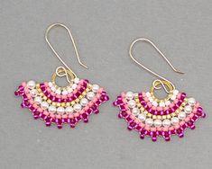 Pink Beaded Fan Earrings Handmade Summer Earrings Swarovski Beadwoven Jewelry Seed Bead Earrings Beadwork Jewelry Best of Irma and Justine Seed Bead Earrings, Beaded Earrings, Earrings Handmade, Seed Beads, Beaded Jewelry, Crochet Earrings, Handmade Jewelry, Chandelier Earrings, Gold Filled Jewelry