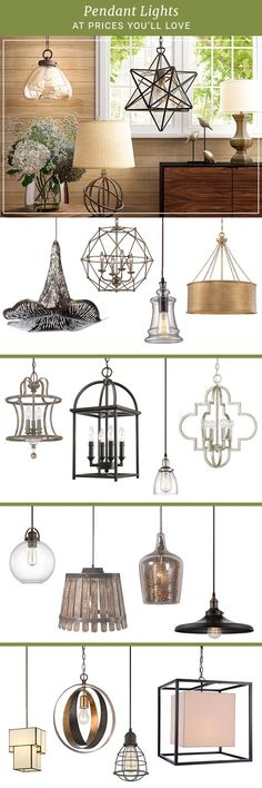 Whether you're entertaining in the dining room or working in the home office, lighting sets the mood. Explore pendant lights in geometric, retro, or minimalistic aesthetics. Find the right light at th Farmhouse Lighting, Rustic Lighting, Vintage Lighting, Home Lighting, Pendant Lighting, Farmhouse Decor, Office Lighting, Lighting Ideas, Pendant Lamps
