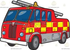 A British Fire Truck :  A red fire truck with yellow checkered accent design lined gray paint on the bottom side part of the truck black tires alloy wheels gray front grilles round headlamps two gold horns and bell and a gray ladder on top  The post A British Fire Truck appeared first on VectorToons.com.   #clipart #vector #cartoon
