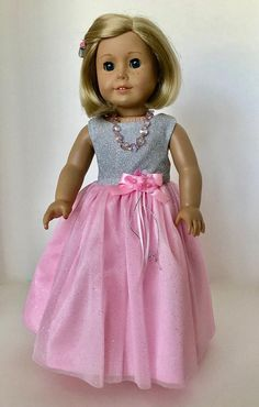 American Girl Doll: Pink Mesh With Silver Sparkled Gown - American Girl Dolls American Girl Dress, American Doll Clothes, American Girls, Dressy Dresses, Cute Dresses, Flower Girl Dresses, Doll Dresses, Small Girls Dress, My Life Doll Clothes