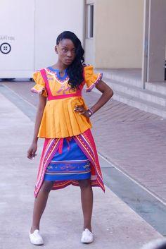 African Attire, African Fashion Dresses, African Dress, Sepedi Traditional Dresses, Traditional Wedding, Traditional Design, African Traditions, Rainbow Wedding, Women Wear