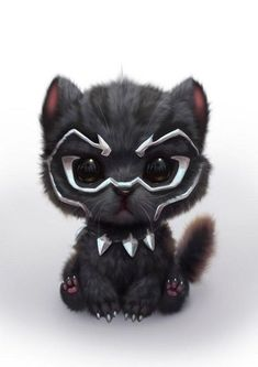 Black Panther as a cute Kitty Cute Little Animals, Cute Funny Animals, Cute Cats, Funny Cats, Cute Animal Drawings, Cute Drawings, Kawaii Drawings, Cartoon Cartoon, Black Panther Marvel