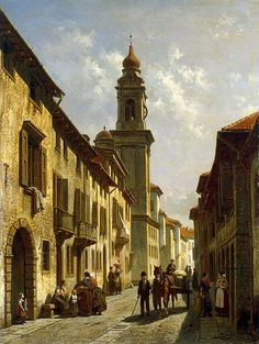 """Jacques Francois Carabain (1834 1933)- """" Town street """" (...Verona, vicolo Satiro ai Filippini ) - Painting, Oil on canvas, 70x53 cm. - Origin: Belgium - Second half of the 19th century. Source of entry: Purchasing Commission of the Experts of the State Hermitage Museum, 1979."""