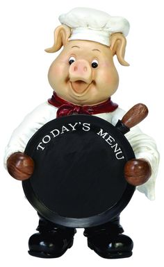 Chef Pig with a Chalkboard for Today's Menu!  {Get Cooking} #pigcollectors #pigs #giftideasforfoodies