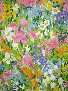 Floral Print Fabric / Curtain Panel / Multicolour Garden Print x / Lace Trim Floral Print Fabric, Floral Prints, Print Fabrics, Vintage Prints, Vintage Floral, Retro Vintage, Textiles, Textures Patterns, Print Patterns