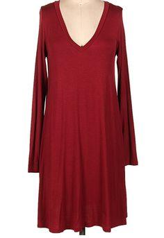 Swing into the Season Dress: Burgundy