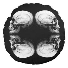 Profile Skull X4 Black And White Protective Bones Round Pillow - black and white gifts unique
