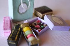 Ladurée Macarons and Chocolate miniature  printable boxes