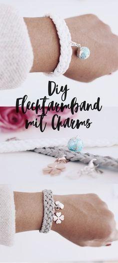 DIY jewelry braided bracelets with charms make yourself - DIY Armbänder basteln - DIY jewelry – make braided bracelet yourself. Bracelets – Make a leather bracelet with a pendan - Diy Jewelry Unique, Diy Jewelry To Sell, Diy Jewelry Making, Sell Diy, Diy Jewellery, Bracelet Crafts, Jewelry Crafts, Jewelry Box, Bead Jewelry