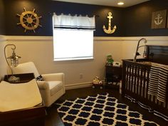 This nautical nursery is super crisp! Love the contrasting colors.
