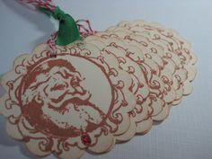Handmade Vintage Style Gift Tag  Old Fashioned Santa by wkburden, $4.95