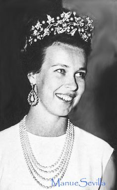 The second daughter of Queen Marie Jose and King Umberto of Italy was Princess Maria Gabrielle, seen here wearing the ivy tiara.