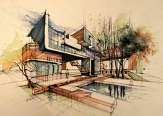 Sketches To Reality: Designing A Waterfront Home On Priest Lake - Modern Architecture Architecture Sketchbook, Architecture Graphics, Facade Architecture, Landscape Architecture, Classical Architecture, Sketches Arquitectura, Architect Design, Layout, Illustration