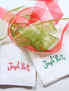Jingle Bells Christmas Cloth Napkins-Set of 4 napkins – White Tulip Embroidery