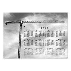 #white - #Construction Crane Photo 2018 Magnetic Calendar Magnetic Card